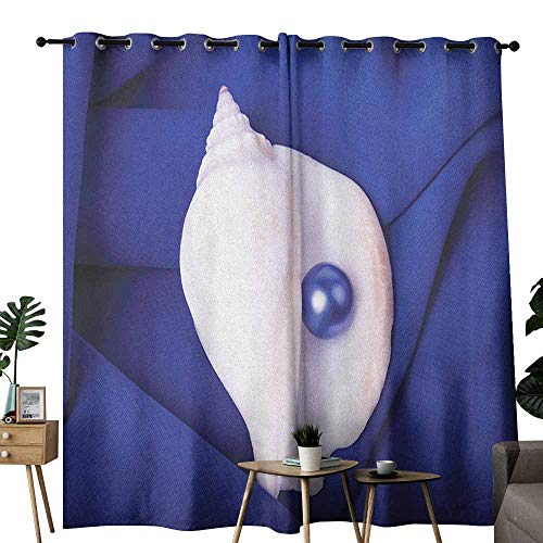 (duommhome Pearls Sliding Curtains Exotic Shell with Pearl Collection Undersea Treasure Discovery Leisure Picture Print Darkening and Thermal Insulating W84 x L108 Blue White)