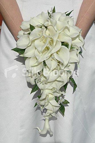 Amazoncom Ivory Calla Lily Cascading Bridal Bouquet W Jasmine