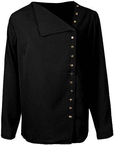 Sharplace Camisa De Gasa Con Cuello Y Manga Larga Sólida Para Mujer Blusa Tops Blusa - Negro, L: Amazon.es: Ropa y accesorios