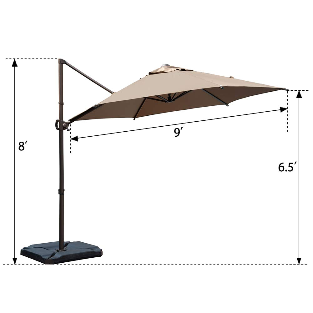 Sand 8 x 10-Feet Abba Patio Rectangular Offset Cantilever Outdoor Patio Hanging Umbrella with Cross Base