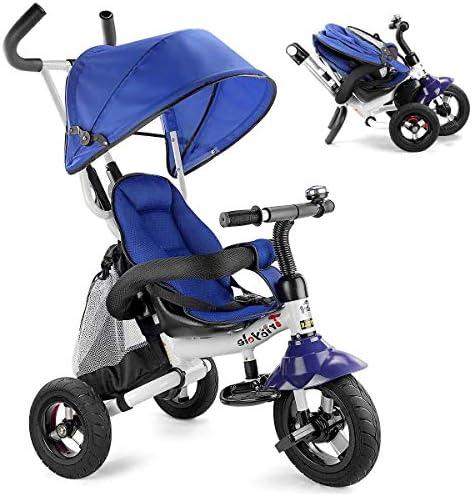 Gemütliche 6 in 1 Baby-Trike, Folding Kinder Dreirad Fahrrad, Kleinkind Kinderwagen mit justierbarem Canopy, Sicherheitsgurt, Folding Pedale, Aufbewahrungstasche, Bremse for 12 Monate - 5 Jahre (Light