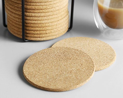 Natural Cork Coaster with Holder, Absorbent Coaster for Wine, Best for Drinks in Office, Home, or Cottage,Round, Set of 16, 4 inches by LAUCHUH (Image #5)