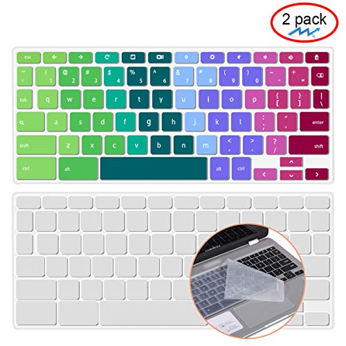 [2 Pack ] Lapogy Keyboard Cover Skin for Samsung Chromebook Plus(12.3 inch)/Samsung Chromebook Pro(12.3 inch),Chromebook Plus XE513C24,Chromebook Pro XE513C24(Clear and Rainbow)