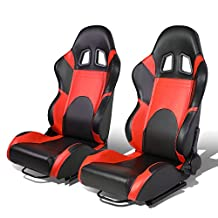 Set of 2 Universal Type-R PVC Leather Reclinable Racing Seats w/ Sliders (Black Body/Red Trim)