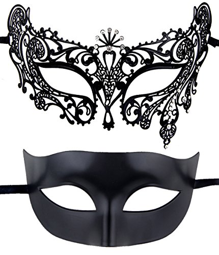 Couples Pair Half Venetian Masquerade Ball Masks Set Party Costume Accessory (Black) by IETANG