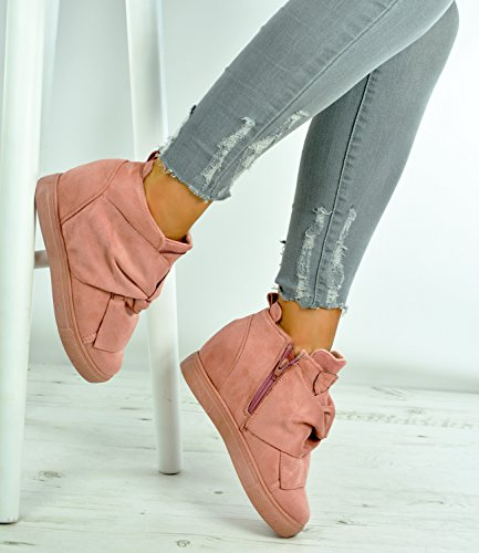 Cucu Fashion New Womens Ladies Ankle Wrap Wedge Trainers Side Zip Faux Suede Bow Sneakers Shoes Size UK 3-8 Pink FsTnktIIK