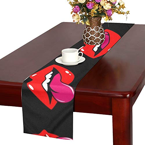 WUTMVING Female Lips Mouth Kiss Smile Tongue Table Runner, Kitchen Dining Table Runner 16 X 72 Inch for Dinner Parties, Events, Decor