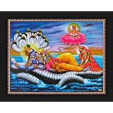 Avercart Lord Vishnu / Shree Vishnu / God Vishnu / Narayana Hari with Laxmiji / Goddess Lakshmi / Vishnu and Laxmi Poster 28x21 cm with Photo Frame (11x8.5 inch framed)