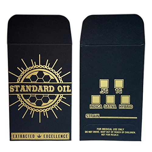 500 - Original Black Gold Standard Oil Wax Extract Coin Foil Envelopes #001 by Shatter Labels