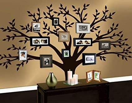 a44633e44d6 Amazon.com   Family Vinyl Wall Decal Stickers Photos Big Tree Leaf Leaves  Falling Frame Room House Home Wall Sticker Art Murals Stickers Decal    Everything ...