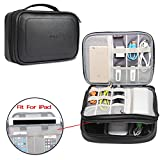 BUBM Electronic Accessories Bag, PU Travel Gadget Organizer Case for Cables, Charger, Plugs, Earphone, Flash Hard Drive and More--a Sleeve Pouch for iPad (Large, black)