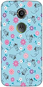 Snoogg Bee Flower Pattern Designer Protective Back Case Cover For Moto X2