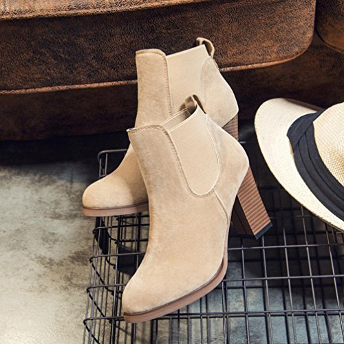 Winter Autumn TM DEESEE Ankle Booties Boots Shoes Square Abkle High Heel Khaki Knot SxFwwqEH
