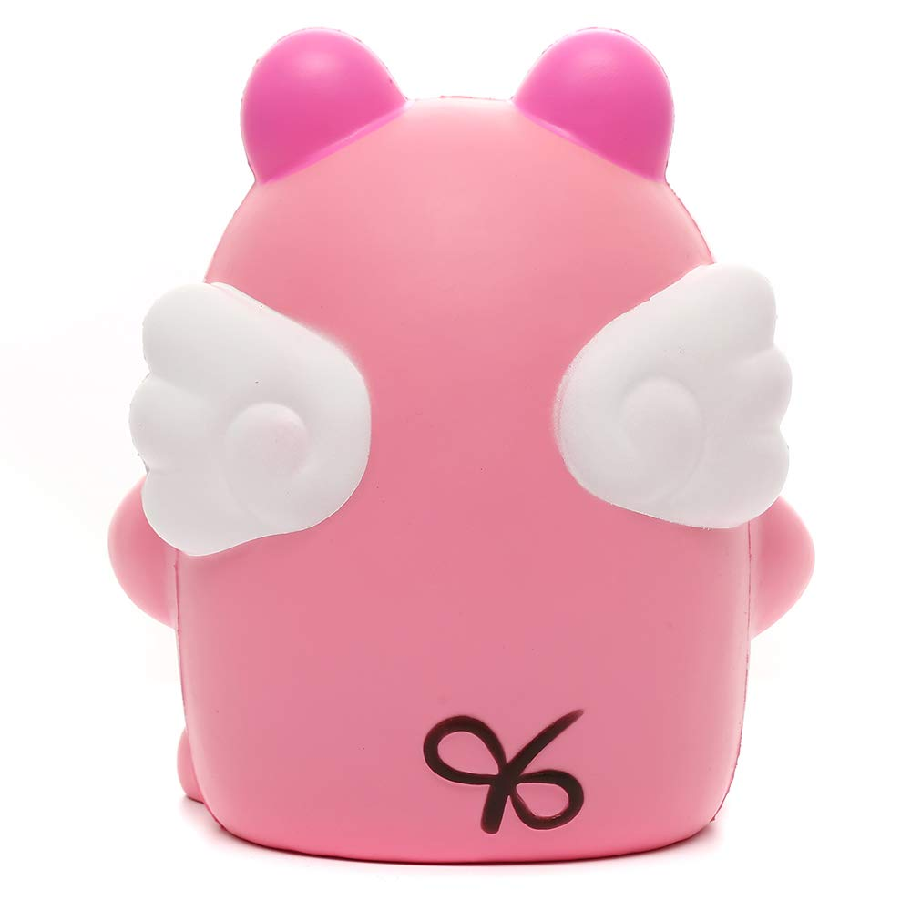 Sinofun 9 Inch Cute Pink Piggy Squishy, with White Wing, Giant Animal Squishies Package, Slow Rising Stress Reliever Squeeze Toys, Birthday Gifts for Girls/Kids by Sinofun (Image #3)