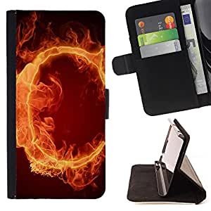 King Air - Premium PU Leather Wallet Case with Card Slots, Cash Compartment and Detachable Wrist Strap FOR Samsung Galaxy S3 III I9300 I9308 I737- Fire Art C Pattern