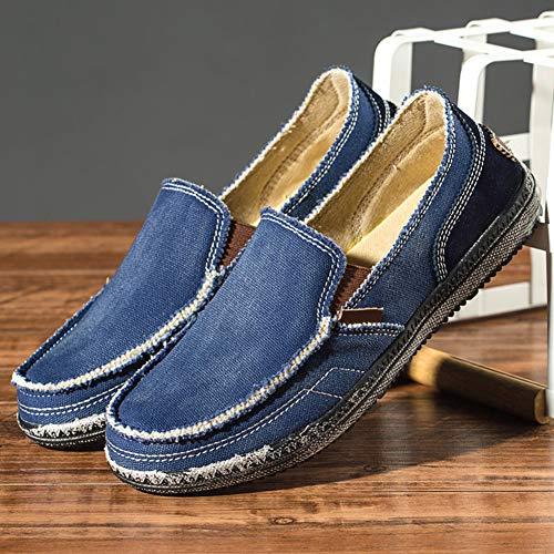 Transpirable Cómodos Caminar Suave Zapatos Lona Casual Azul Mocasines Oscuro Denim De Hombres Para Verano 0PqW0vRF8