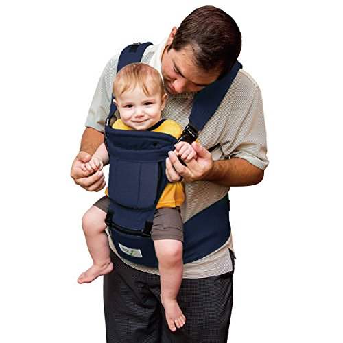 BabySteps 6-IN-1 Ergonomic Baby Hip Seat Carrier, Soft Carrier for All Shapes and Seasons, Perfect for Alone Nursing from Infant to Toddlers, Navy (Ergonomic Baby Carrier)