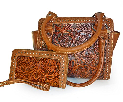 trinity-ranch-floral-tooled-leather-medium-tote-wristlet-wallet-brown