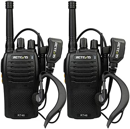 Retevis RT46 Walkie Talkie Rechargeable Dual Power SOS Alarm FRS Hands-Free VOX Two Way Radio with Headset 2 Pack