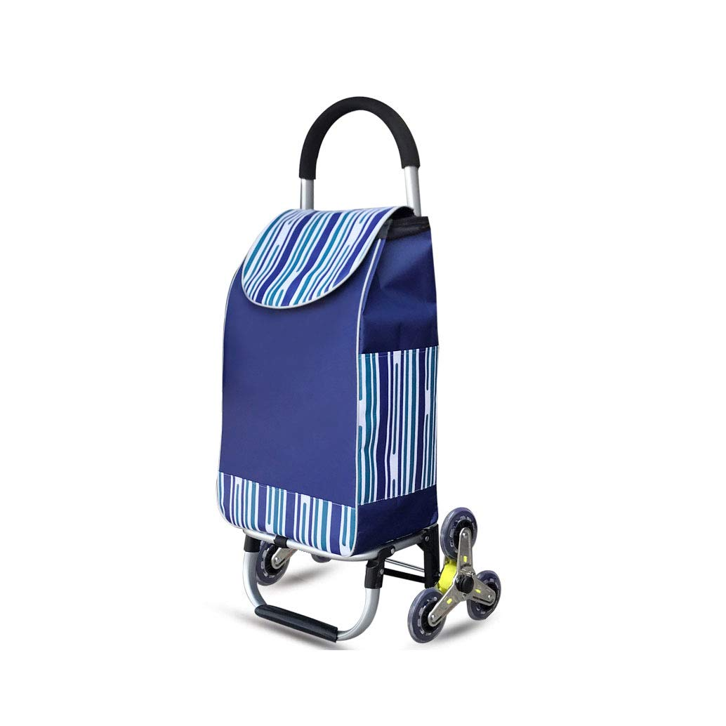 TK® アルミ合金の買物の野菜買物をするトロリー折り畳み式の上昇階段トロリー車 (色 : Blue A) B07P64JC11