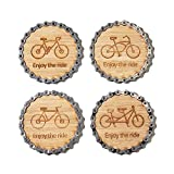 Resource Revival - Bike Chain & Bamboo Bicycle-Themed Coasters | Eco-friendly Rustic Modern Coaster Created for the Adventurer - Set of 4
