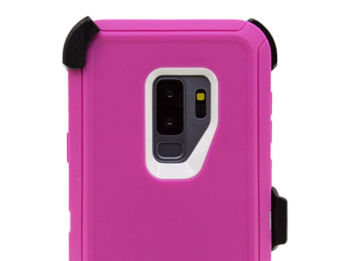 detailed look 71189 ff54d OtterBox Defender Case for Samsung Galaxy S9+ with Belt Clip fits OtterBox  S9 Plus Cover with Tempered Glass Screen Protector - Pink White