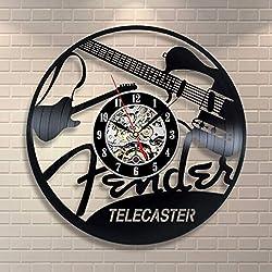 Crazy ogdre Musical Instrument Guitar Vinyl Record Wall Clock Living Room Bedroom Personality Decoration Creative Wall Clock