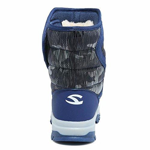 d1f2b46d2 GUBARUN Boys Snow Boots Kids Outdoor Warm Shoes Waterproof (Blue