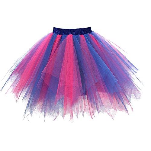 Girstunm Women's 1950s Vintage Petticoats Bubble Tutu Dance Half Slip Skirt Blue Fuchsia 2XL -