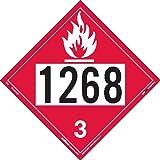 Labelmaster ZEZ21268 UN 1268 Flammable Liquid Hazmat Placard, E-Z Removable Vinyl (Pack of 25)