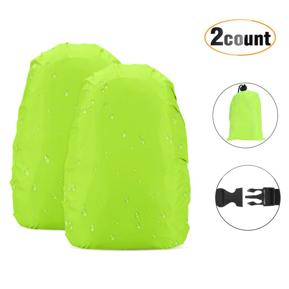 AGPTEK Waterproof Backpack Rain Cover High Visibility for Outdoor Climbing Hiking Traveling, 2-Pack Green M (26-40L) BRCGM-EU