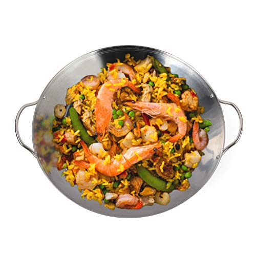 Mydracas Stainless Steel Grill Wok Stir-Fry and Paella Grill Pan with Handle