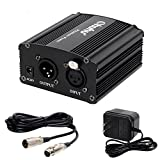 Ohuhu 1-Channel 48V Phantom Power Supply with Adapter and XLR Extension Cable