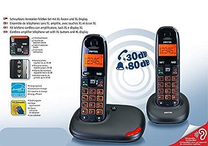 Kit Duo Twin de teléfonos inalámbricos amplificados para personas mayores, teclas