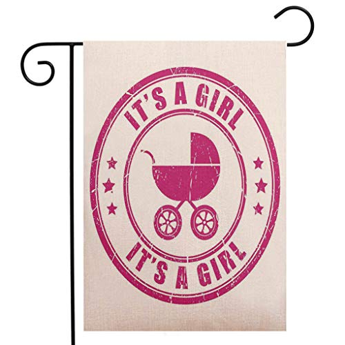 BEIVIVI Creative Home Garden Flag Gender Reveal Decorations Grunge Its A Girl Stamp Baby Carriage Artistic Newborn Icon Image Fuchsia Garden Flag Waterproof for Party Holiday Home Garden Decor