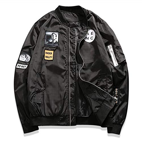 AITFINEISM Classic Slim Fit Bomber Jacket Men Windbreaker with Patches (Small, Black)