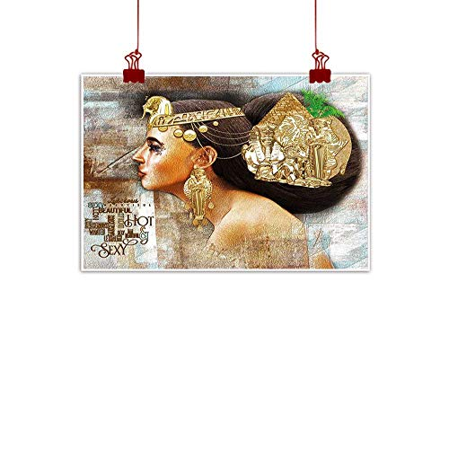 ints Wall Decor Art Egyptian,Woman Queen Cleopatra Profile Historical Art Scene with Ancient Pyramid Sphinx,Golden Brown 20