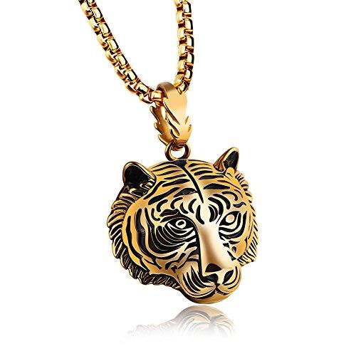 - JAJAFOOK Men Women Vintage Stainless Steel Biker Tiger Head Pendant Necklace, Silver/Black/Gold