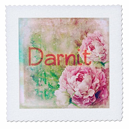 3dRose Cassie Peters Granny Swears - Darnit Roses - 20x20 inch Quilt Square (qs_283673_8)