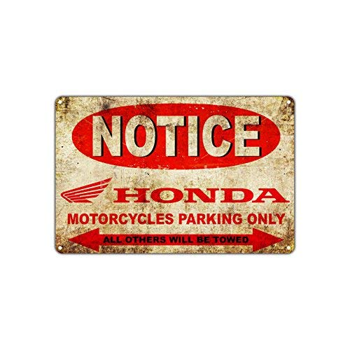 Notice Honda Motorcycles Parking Only Others Will Be Towed Sign Vintage Retro Metal Wall Decor Art Shop Man Cave Bar Aluminum Sign 8