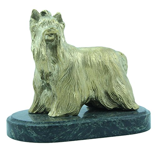 CTOC Yorkshire Terrier Bronze Statue Handmade Figurine on Natural Ural Rock Original Paperweight Super Present and Home Decoration