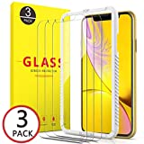 Compatible with iPhone XR Screen Protector 2018, [3pack + 1 Clear case] 2.5D Curved Edge Anti-Scratch [ Case Friendly ] Face Recognition [6.1] inch Tempered Glass Screen Protector by OULUOQI
