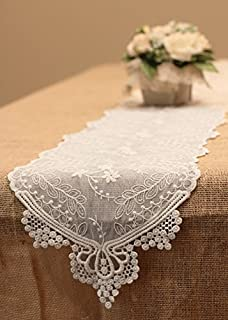 16 by 36-Inch Taupe with White XD15110 Xia Home Fashions Ruffle Trim Lace Table Runner
