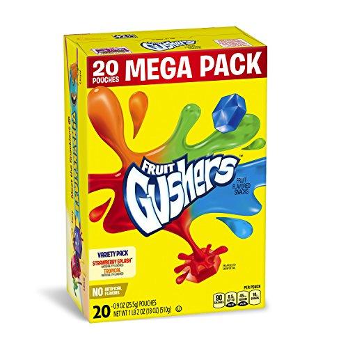 Fruit Strawberry Snacks (Betty Crocker Fruit Snacks, Gushers, Mega Pack, Variety Snack Pack, 20 Pouches, 0.9 oz Each)