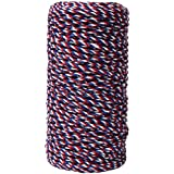 May Arts 412-44 Red/White/Blue 2mm Baker's Twine Ribbon,Red/White/Blue,109 yd