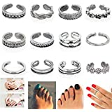 12PCs/set Celebrity Jewelry Retro Silver Adjustable Open Toe Ring Finger Foot EW