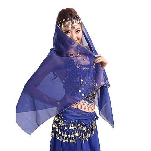 Pilot-trade Women Headband Belly Dance Face Veil Dancing Headpiece Chiffon Coins Head Scarf Shawl Dark Blue