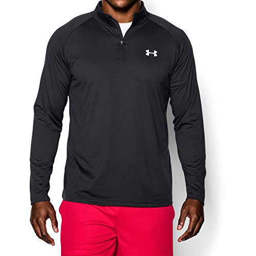 Under Armour Mens Tech 1 4 Zip  Black White  Large