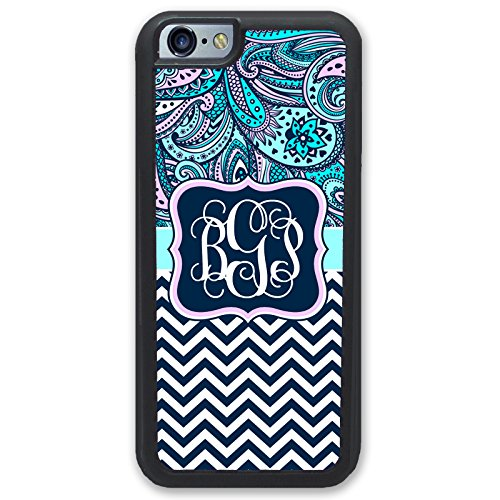 iPhone 6 TOUGH Case Paisley Blue Pink Chevrons Monogram iPhone 6S Case - Monogrammed Personalized - Hard Rubber Case (4.7 inch) by Simply Customized (Blue Studio Paisley)
