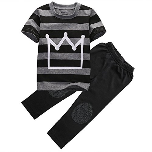 Little Boys Short Sleeve Striped Crown Print T-Shirt and Pants Outfit (Black, 6 T)